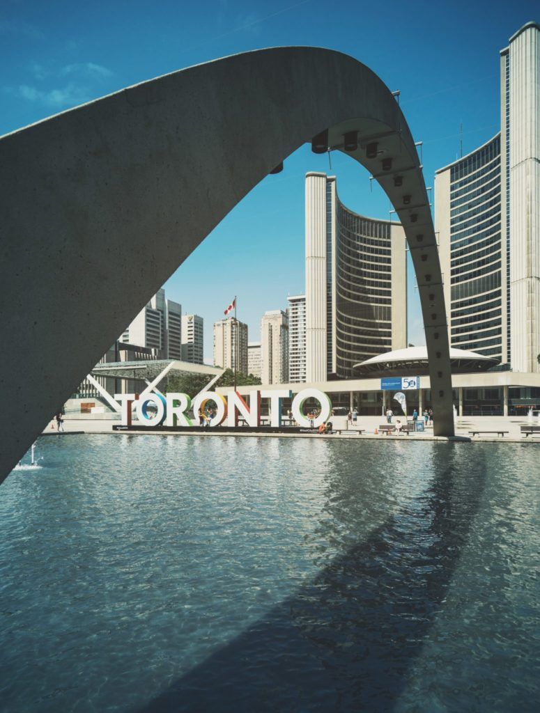 """View of Toronto's """"Toronto"""" sign near Nathan Phillips Square"""