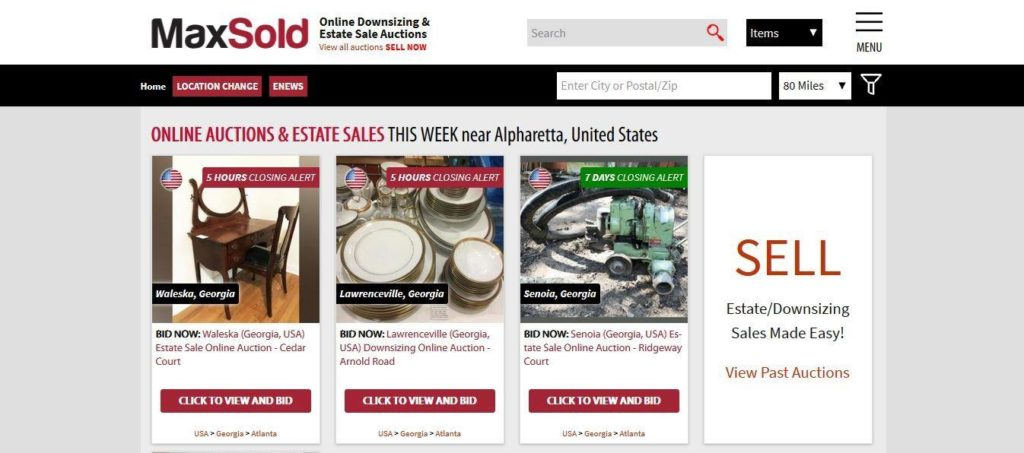 A screenshot of the MaxSold auctions homepage, showing online auctions and estate sales taking place near Alpharetta, USA