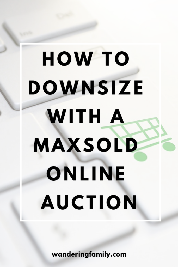 "Image for Pinterest that shows a keyboard with a shopping cart button and text that says ""how to downsize with a MaxSold online auction"""