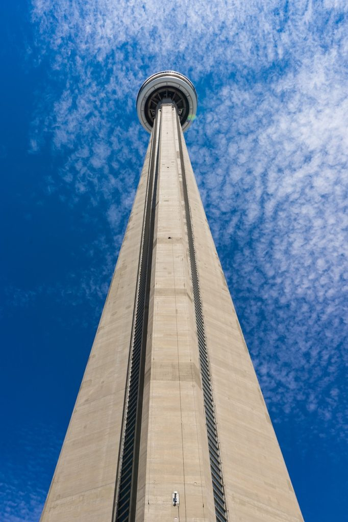 CN Tower in Toronto, looking up at it from the bottom