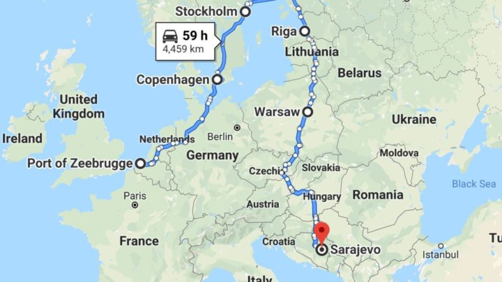 map showing route from Belgium to Stockholm to Tallin to Sarajevo