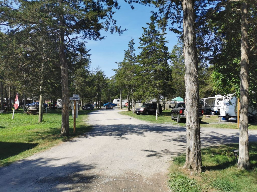 Gravel RV campground road with trees and trailers on either side